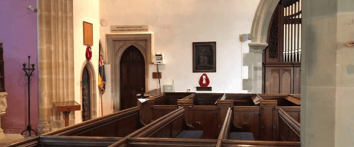 internal shot of St Mary's with info-point near door