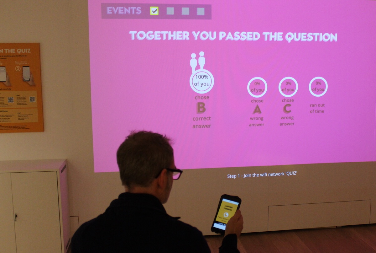 phones used as a control pad for wall projected quiz